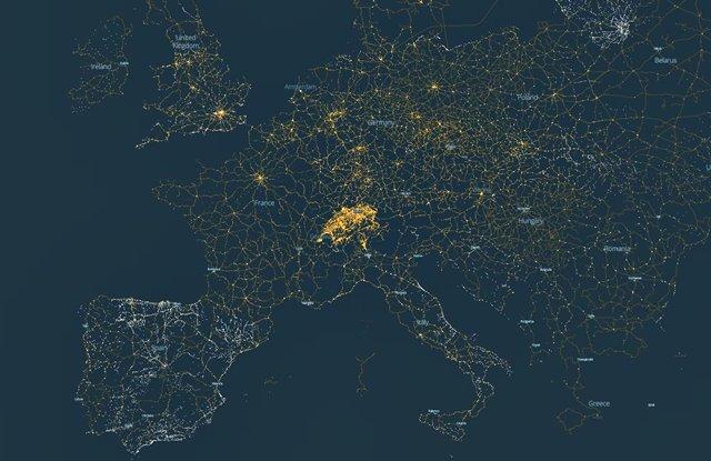 Mapa transporte público Europa