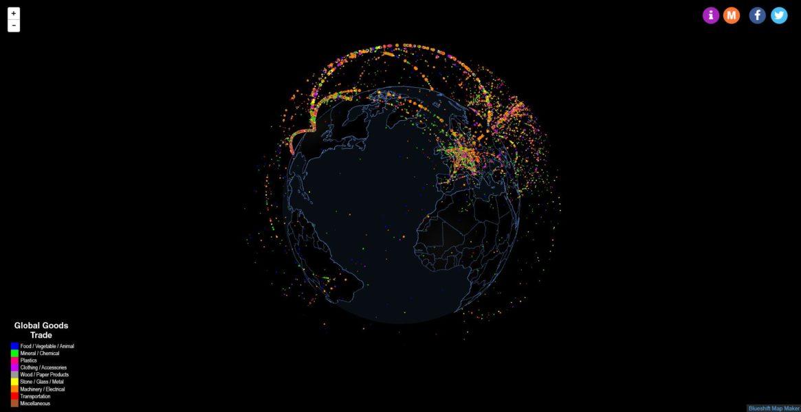 Mapa de los flujos del comercio internacional