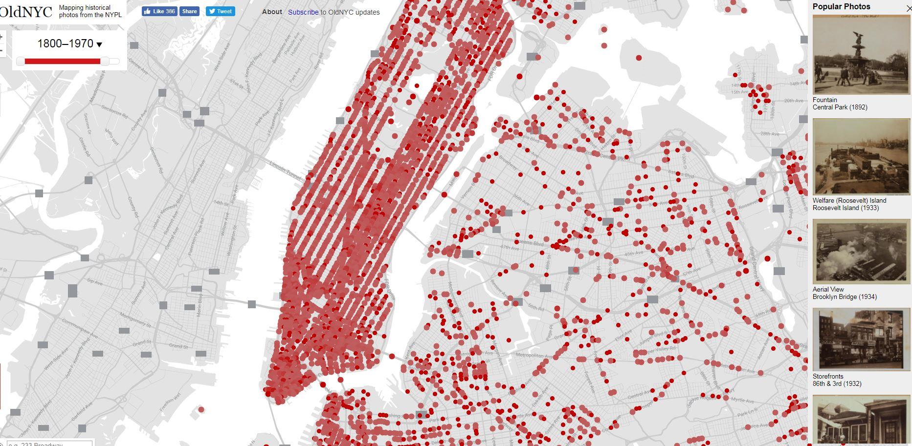 Mapa fotográfico del antiguo Nueva York